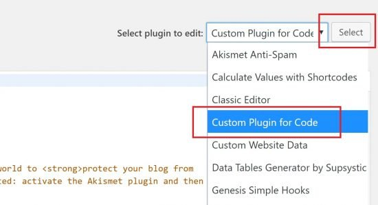 Select Custom Plugin to Edit