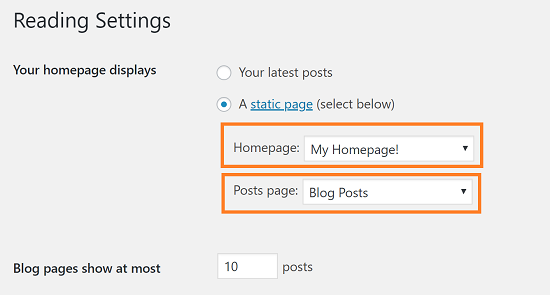 WordPress - Set the Front Page and Blog Posts Page