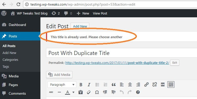 Duplicate Post Titles Error Message