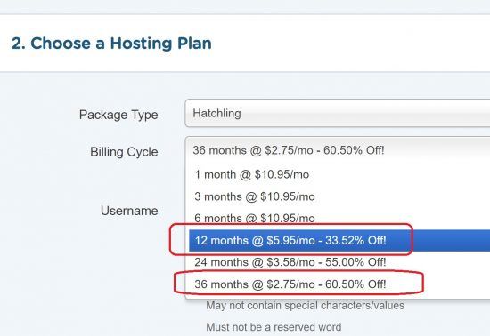Yearly Web Hosting Plans Comparison - Hostgator