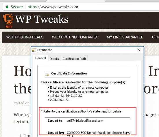 Using an SSL certificate with Cloudflare