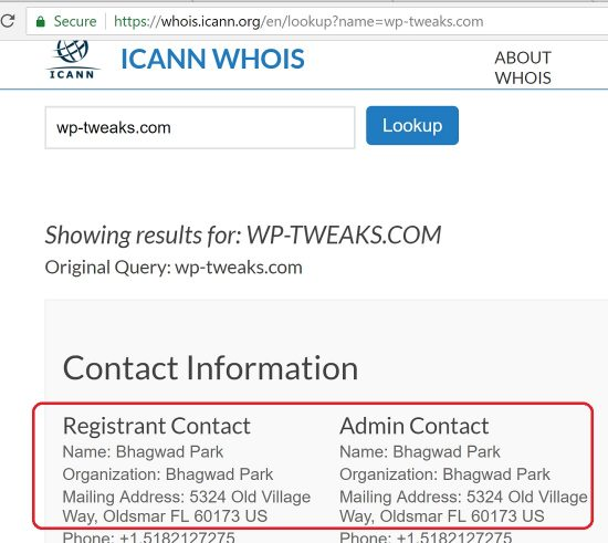 WHOIS Publisher Contact Information