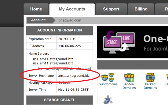 Get the Server Hostname from cPanel