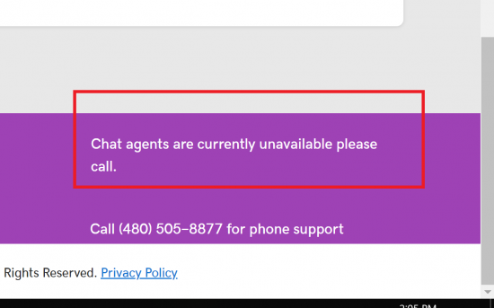 GoDaddy Help Chat not Available