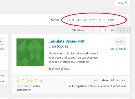 Install the Calculate Values with Shortcodes Plugin in WordPress