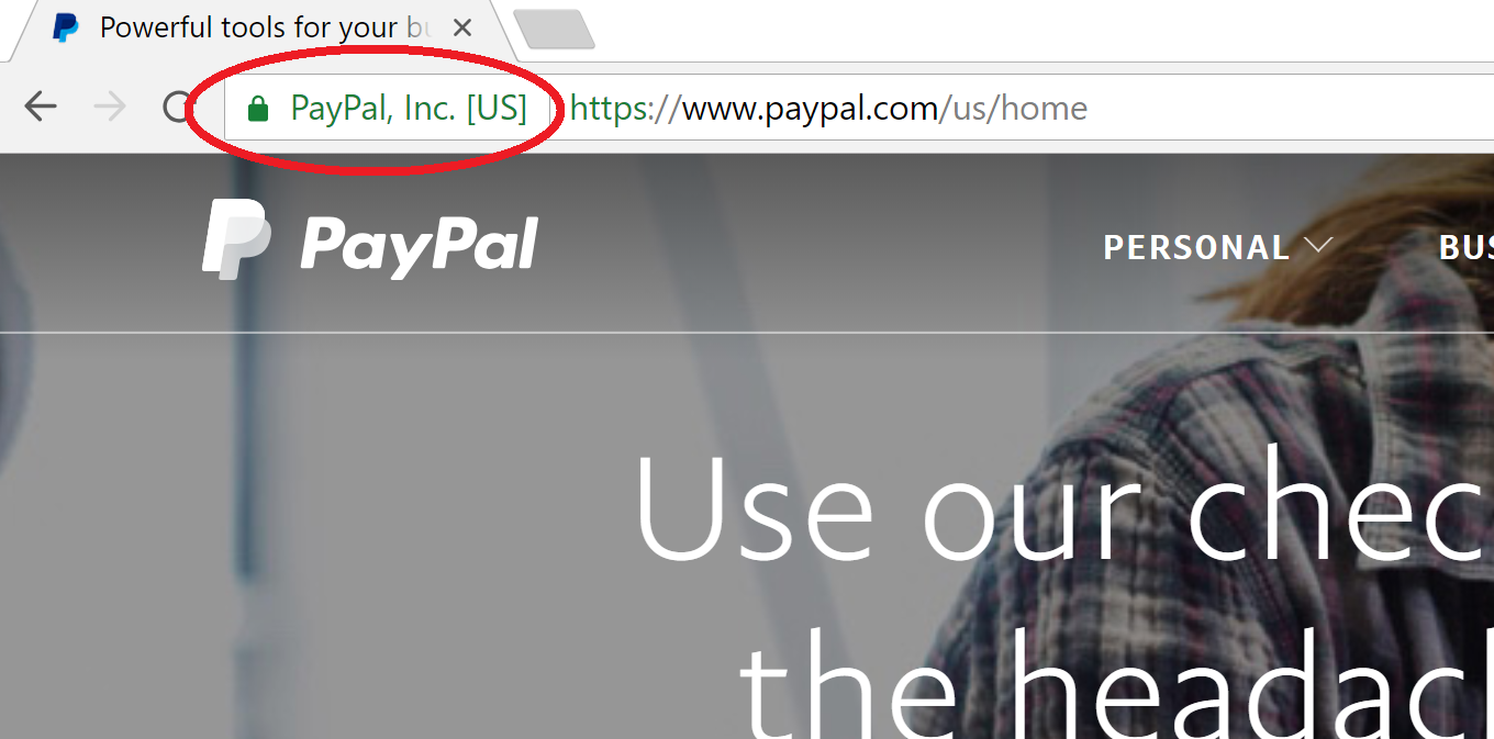 Paypal Green Bar EV SSL Certificate