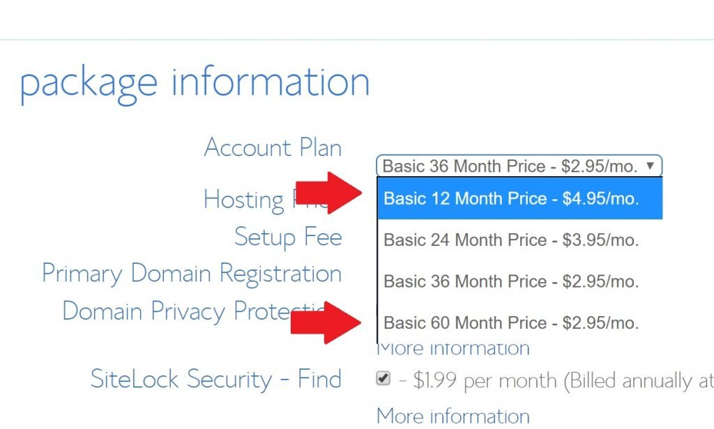 The best Bluehost coupon 2019 deals are for 36 months minimum subscription