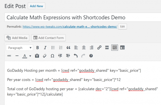 Use Shortcode in WordPress with a Formula1