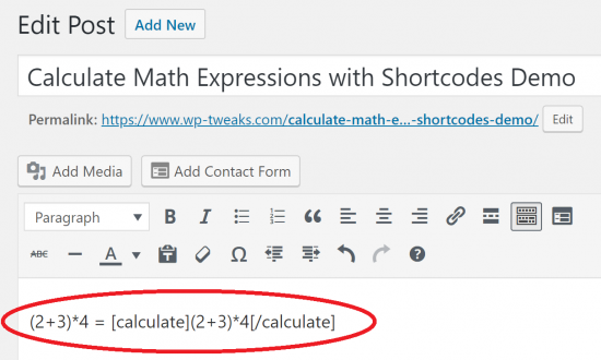 Use formulas in the WordPress Editor