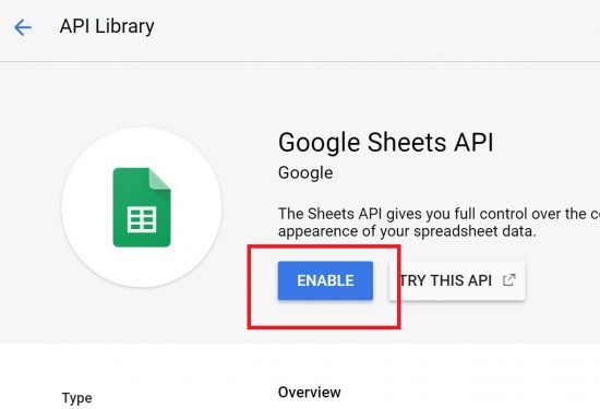 Enable Google Sheets API