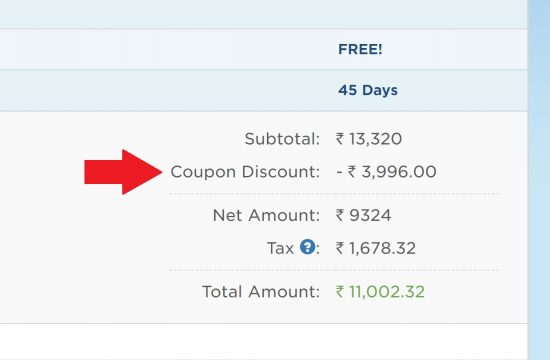 The coupon discount for Hostgator India is applied