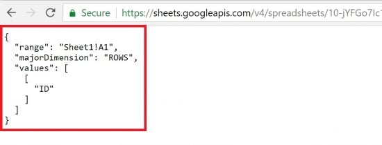 Google Sheets API Returns Json