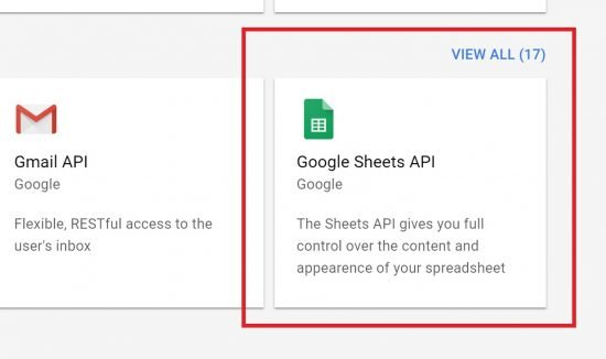 Select the Google Sheets API