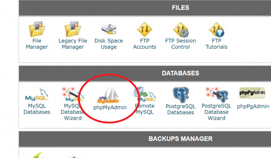 Access phpMyAdmin from cPanel