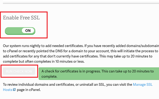 Enable Free SSL