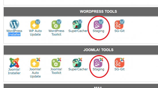 SiteGround Staging in cPanel
