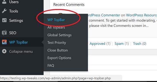 Access WP TopBar