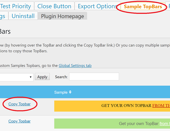 Copy Topbar Sample to Get Started
