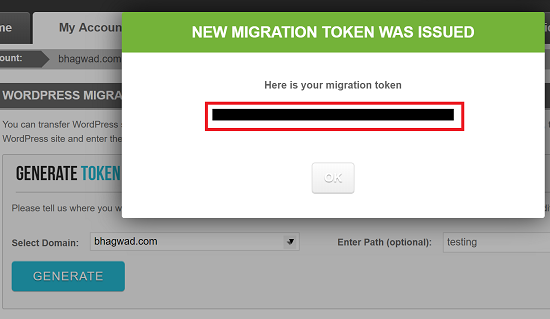 SiteGround WordPress Migrator Token Generated
