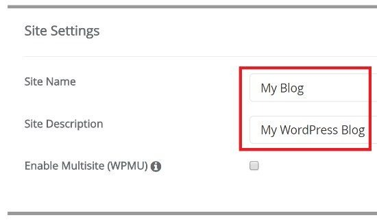 WordPress Site Name and Description