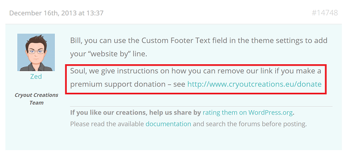 Remove Footer Credit Link if Premium Donation