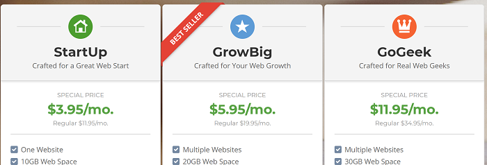 SiteGround Plans - StartUp, GrowBig, and GoGeek