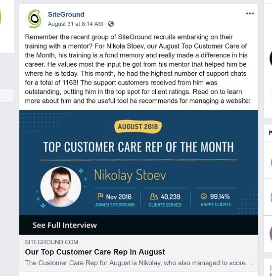 SiteGround Featured Customer Care Rep