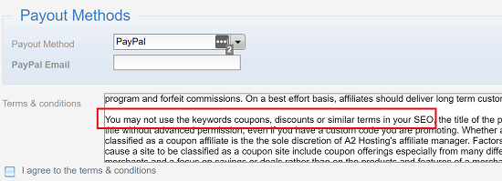 A2 Affiliate Coupon Keywords Not Allowed