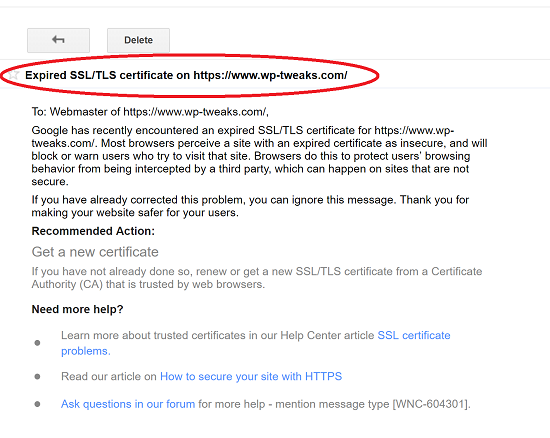 Expired SSL Warning from Google Search Console