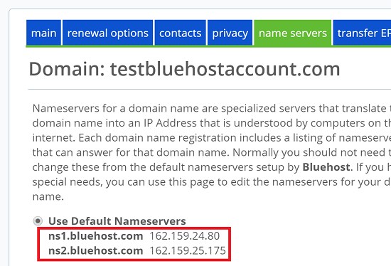 Get Nameservers from Host