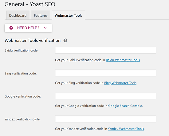 Submit to Search Engines - Enter Verification Code for Yoast