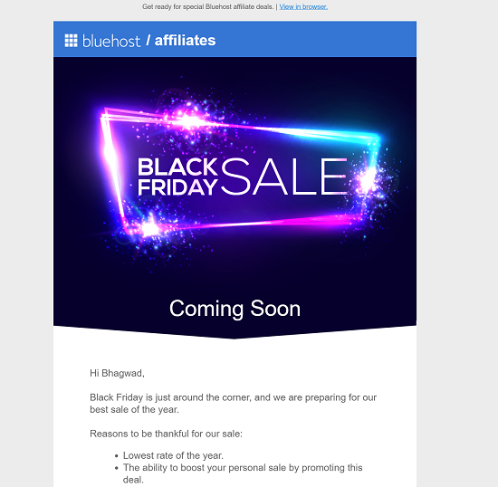 Bluehost Black Friday Notice