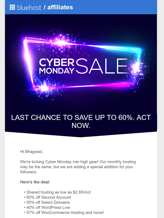 Bluehost Discount Coupon for Cyber Monday