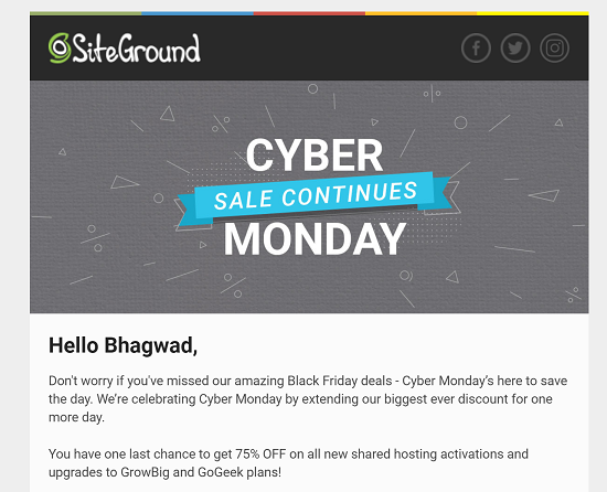 Cyber Monday SiteGround Coupons