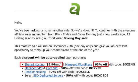 A2 Hosting Coupon Code for Boxing Day
