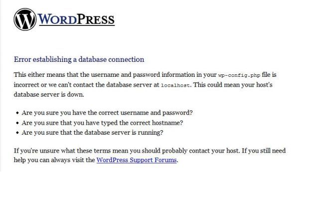 WordPress Database Errors