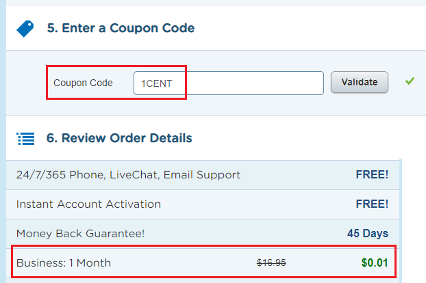 1 Cent Hostgator Coupon for Business Plan