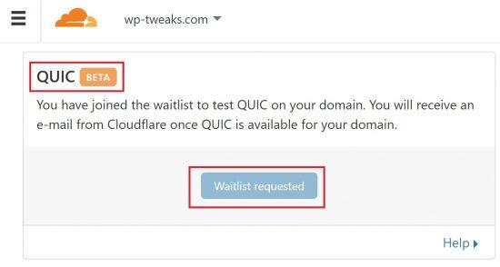 Cloudflare's QUIC Waitlist