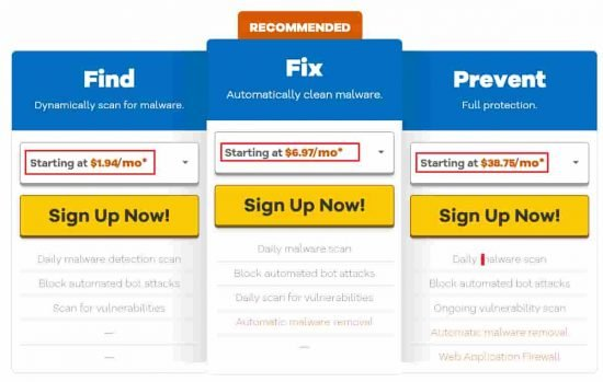 Hostgator SiteLock Plans