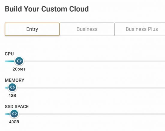 SiteGround cloud hosting allows you to select the CPU, RAM, and SSD space