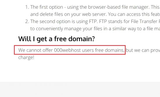 No Free Domain Hosting with 000webhost.com