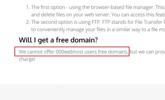 No Free Domain Hosting with 000webhost.com