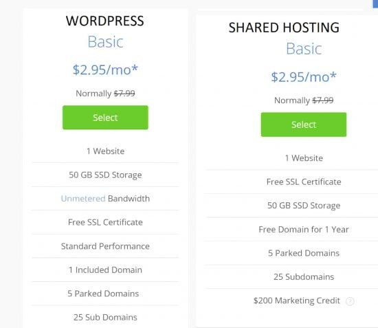 Comparing Bluehost WordPress and shared hosting