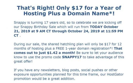 Hostgator Affiliate Email for Birthday Sale