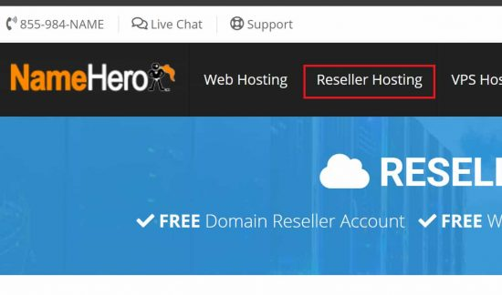 NameHero Reseller Hosting is Front and Center