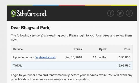 E-Mail Warning from SiteGround Asking you to Renew