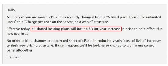 BuyShared Reseller Discounts were lowered because of the cPanel price increase