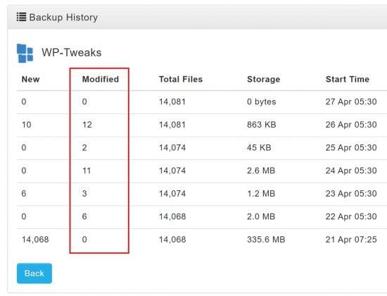 DropMySite Modified Files Storage