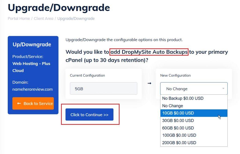 Adding DropMySite upgrade options to NameHero