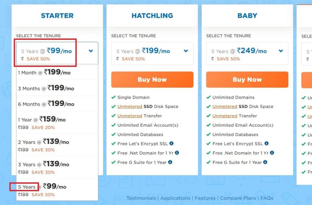 Hostgator India 5-Year Savings